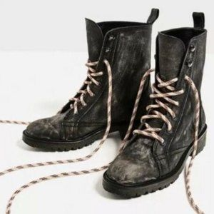 ZARA Distressed Black Leather Combat Boots Size 8